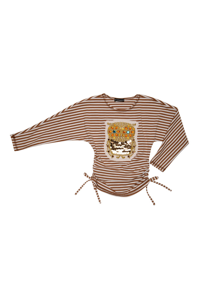 Kate Mack Enchanted Owl Tee, Brown