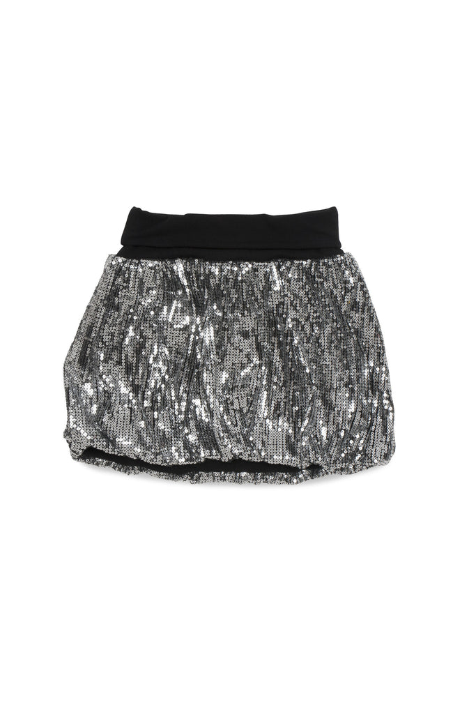 Kate Mack Bow Bling Sequin Skirt in Silver