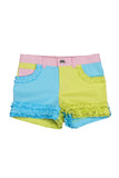 Kate Mack Dipped In Daisies Colorblocked Multicolored Denim Short