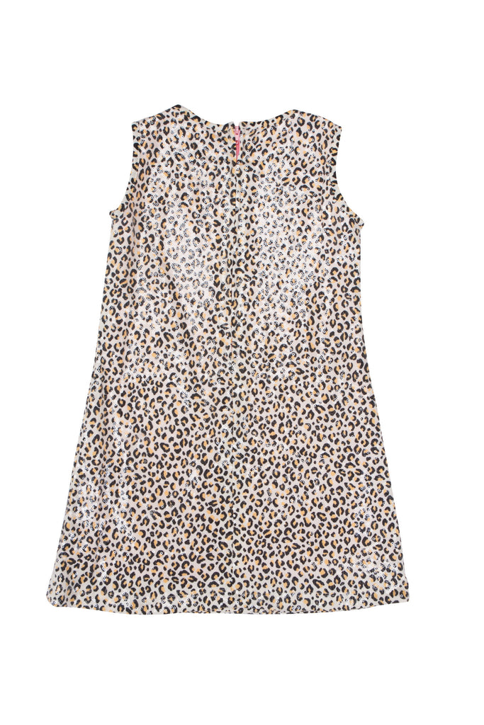 Kate Mack Gone Wild Sequined Knit Leopard Print Dress in Tan