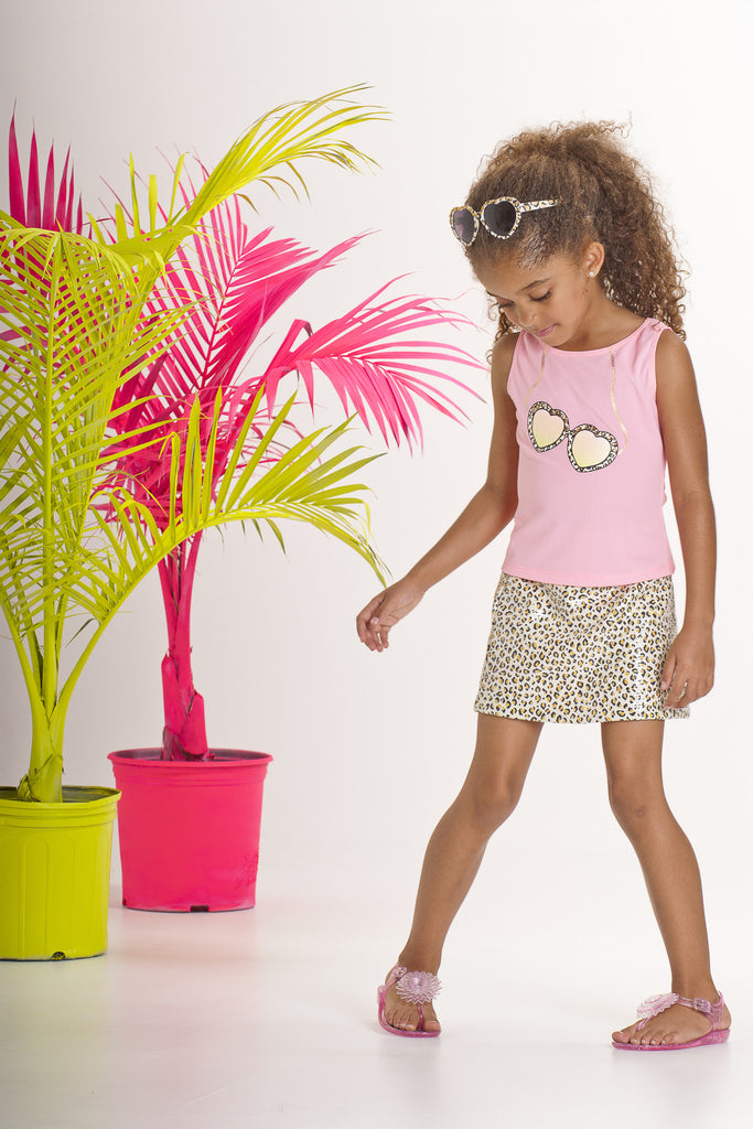 Kate Mack Gone Wild Tee with Leopard Sunglass Motif in Pink