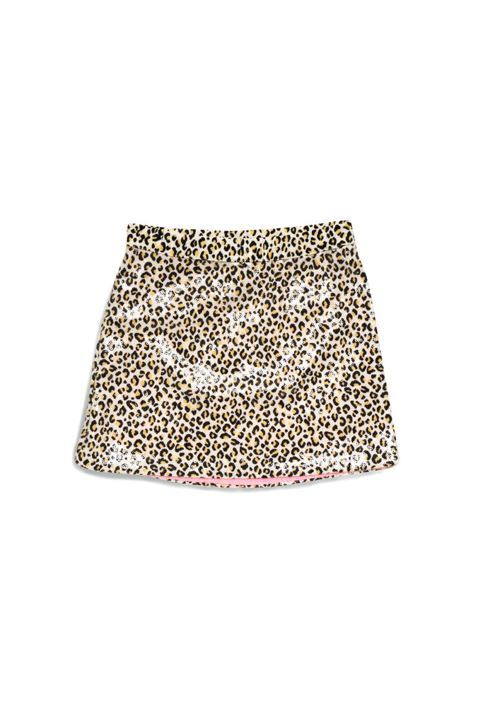 Kate Mack Gone Wild Sequined Leopard Knit Skirt in Tan