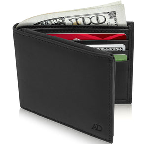 Genuine Leather Bi-Fold Wallet With Flip-Up ID Window RFID Blocking Black Smooth | Access Denied