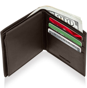 Genuine Leather Bi-Fold Wallet With Flip-Up ID Window RFID Blocking Dark Brown Smooth | Access Denied