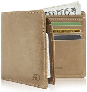 Vegan Faux Leather Bifold Wallets For Men RFID Blocking Taupe | Access Denied