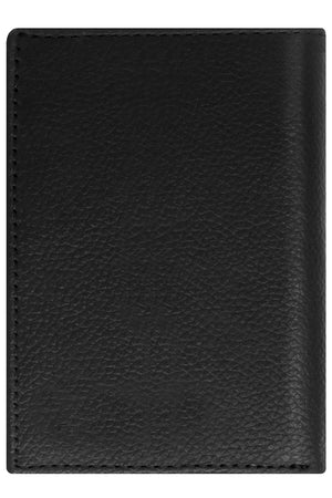 Genuine Leather Trifold Wallet With ID Window RFID Blocking Black Pebble | Access Denied