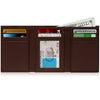 Genuine Leather Trifold Dark Brown Smooth Wallet ID Window RFID Blocking | Access Denied
