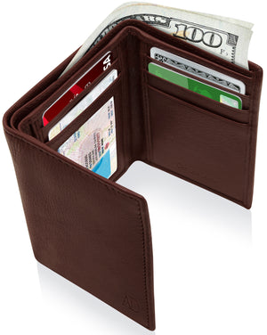 Genuine Leather Trifold Wallet With ID Window RFID Blocking Dark Brown Smooth | Access Denied