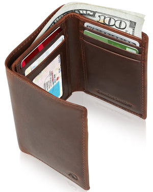Genuine Leather Trifold Wallet With ID Window RFID Blocking Brown Crazyhorse | Access Denied