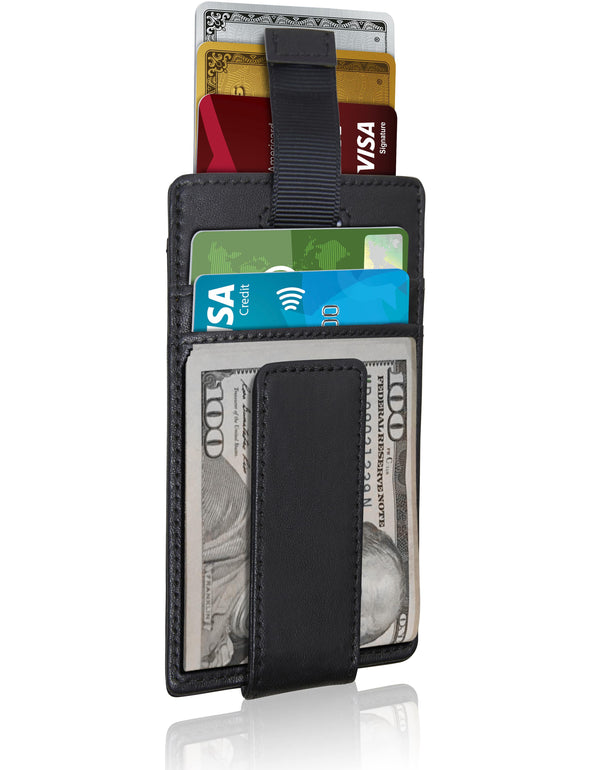 Money Clip Card Holder With Pull Strap