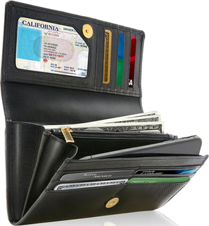 Genuine Leather Women's Wallet Accordion RFID Blocking Deep Black | Access Denied