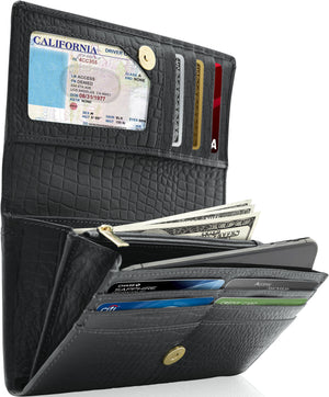 Genuine Leather Women's Wallet Accordion RFID Blocking Black Alligator | Access Denied