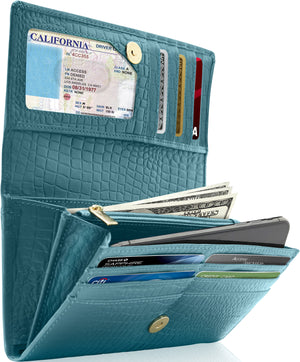 Genuine Leather Women's Wallet Accordion RFID Blocking Teal Croco | Access Denied