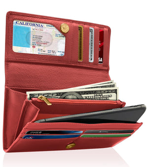Genuine Leather Women's Wallet Accordion RFID Blocking Red | Access Denied