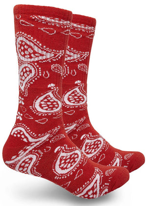 Bandana Print High-Top Printed Socks Unisex Red | Access Accessories
