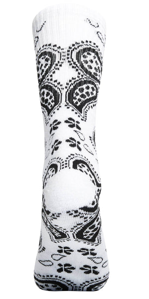 Bandana Print High-Top Printed Socks Unisex White | Access Accessories