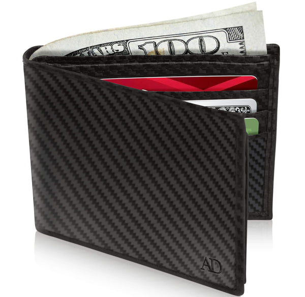 Genuine Leather Bi-Fold Wallet With Flip-Up ID Window RFID Blocking Black Carbonfiber | Access Denied