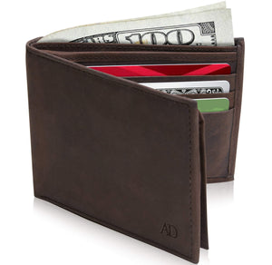 Genuine Leather Bi-Fold Wallet With Flip-Up ID Window RFID Blocking Brown Crazyhorse | Access Denied