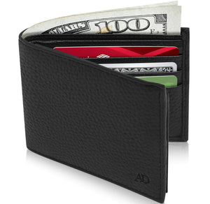 Genuine Leather Bi-Fold Wallet With Flip-Up ID Window RFID Blocking Black Pebble | Access Denied