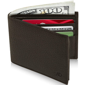 Genuine Leather Bi-Fold Wallet With Flip-Up ID Window RFID Blocking Dark Brown Pebble | Access Denied