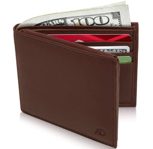 Genuine Leather Bi-Fold Wallet With Flip-Up ID Window RFID Blocking Cognac Smooth | Access Denied