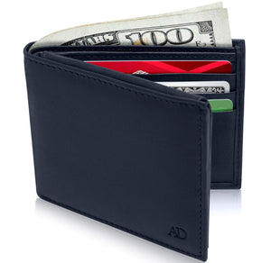 Genuine Leather Bi-Fold Wallet With Flip-Up ID Window RFID Blocking Navy Blue Smooth | Access Denied