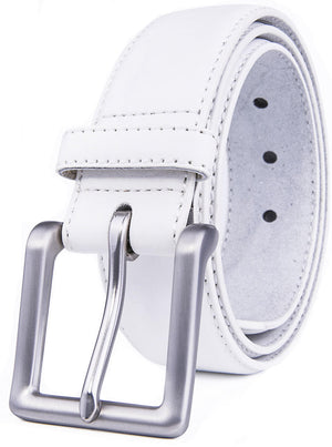 Bonded Leather Belt White | Access Denied