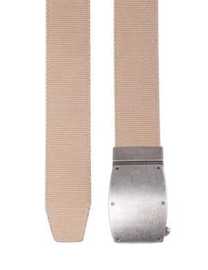 Bonded Leather & Canvas Reversible Ratchet Belt White To Beige | Access Denied