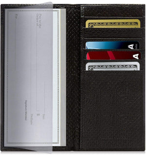 Genuine Leather Checkbook Cover Wallet RFID Blocking Black Snake | Access Denied