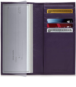 Genuine Leather Checkbook Cover Wallet RFID Blocking Purple Smooth | Access Denied
