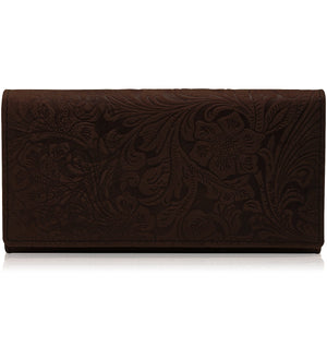 Genuine Leather Brown Floral Women's Wallet RFID Blocking | Access Denied