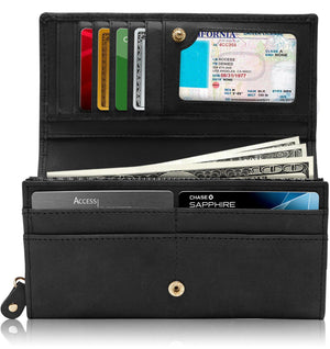 Genuine Leather Black Floral Women's Wallet RFID Blocking | Access Denied