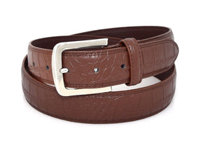 Genuine Leather Belt For Men Brown Crocodile | Access Denied