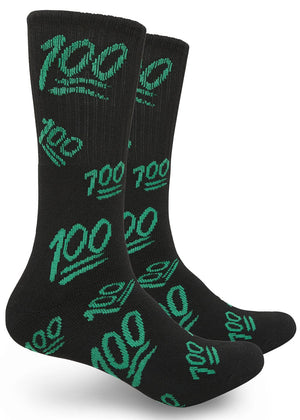 Hundreds Print High-Top Theme Socks Men & Women Black/Green | Access Accessories