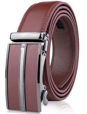 Microfiber Leather Ratchet Belt Brown | Access Denied