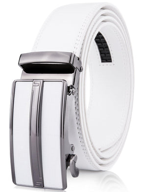 Microfiber Leather Ratchet Belt White | Access Denied