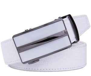 Microfiber Leather Ratchet Belt White Croco | Access Denied