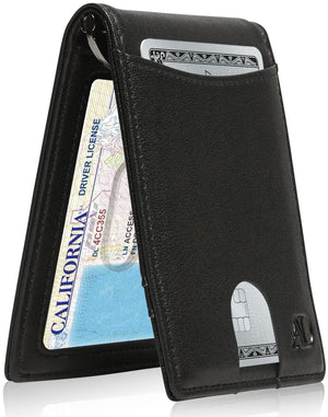 Mens Slim Bifold Wallet W/ Pull Strap RFID Blocking Black | Access Denied