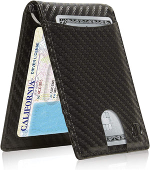 Mens Slim Bifold Wallet W/ Pull Strap RFID Blocking Black Carbonfiber | Access Denied
