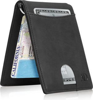 Mens Slim Bifold Wallet W/ Pull Strap RFID Blocking Black Crazyhorse | Access Denied