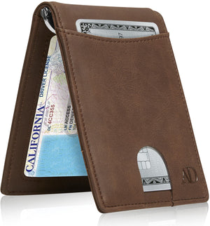 Mens Slim Bifold Wallet W/ Pull Strap RFID Blocking Brown Crazyhorse | Access Denied