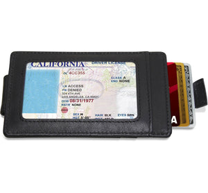Money Clip Card Holder With Pull Strap Black | Access Denied