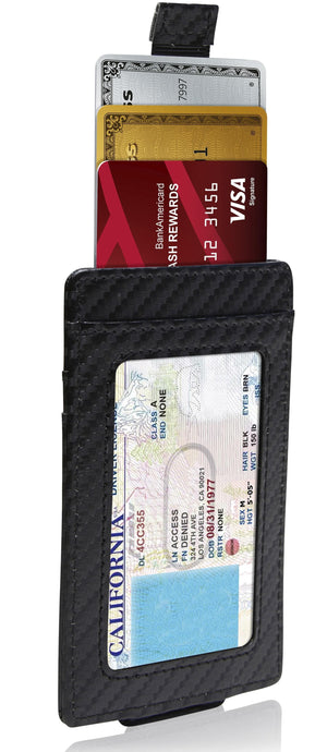 Money Clip Card Holder With Pull Strap Black Carbonfiber | Access Denied