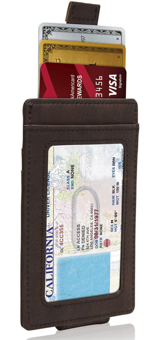 Money Clip Card Holder With Pull Strap Brown Crazyhorse | Access Denied
