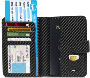 Passport Holder Wallet For Men & Women RFID Blocking Black Carbonfiber | Access Denied