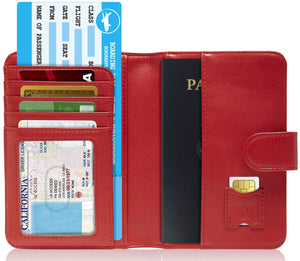 Passport Holder Wallet For Men & Women RFID Blocking Red | Access Denied