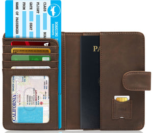 Passport Holder Wallet For Men & Women RFID Blocking Brown Crazyhorse | Access Denied