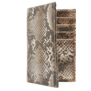 Genuine Leather Passport Holder Wallet Black/Gray Print Snake RFID Blocking | Access Denied