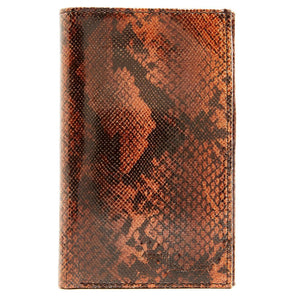 Genuine Leather Passport Holder Wallet Dark Brown Snake RFID Blocking | Access Denied
