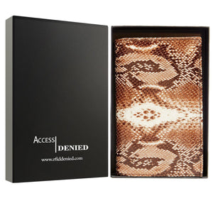 Genuine Leather Passport Holder Wallet Brown Multi Snake RFID Blocking | Access Denied